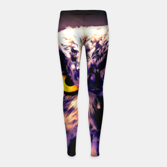 owl look digital painting reacls Girl's leggings thumbnail image
