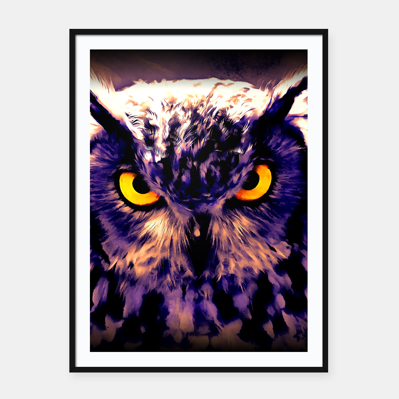Image of owl look digital painting reacls Framed poster - Live Heroes