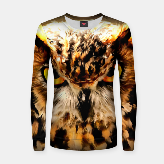 owl look digital painting reacstd Women sweater thumbnail image
