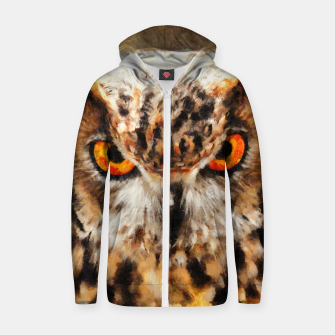 Thumbnail image of owl look digital painting orcstd Zip up hoodie, Live Heroes