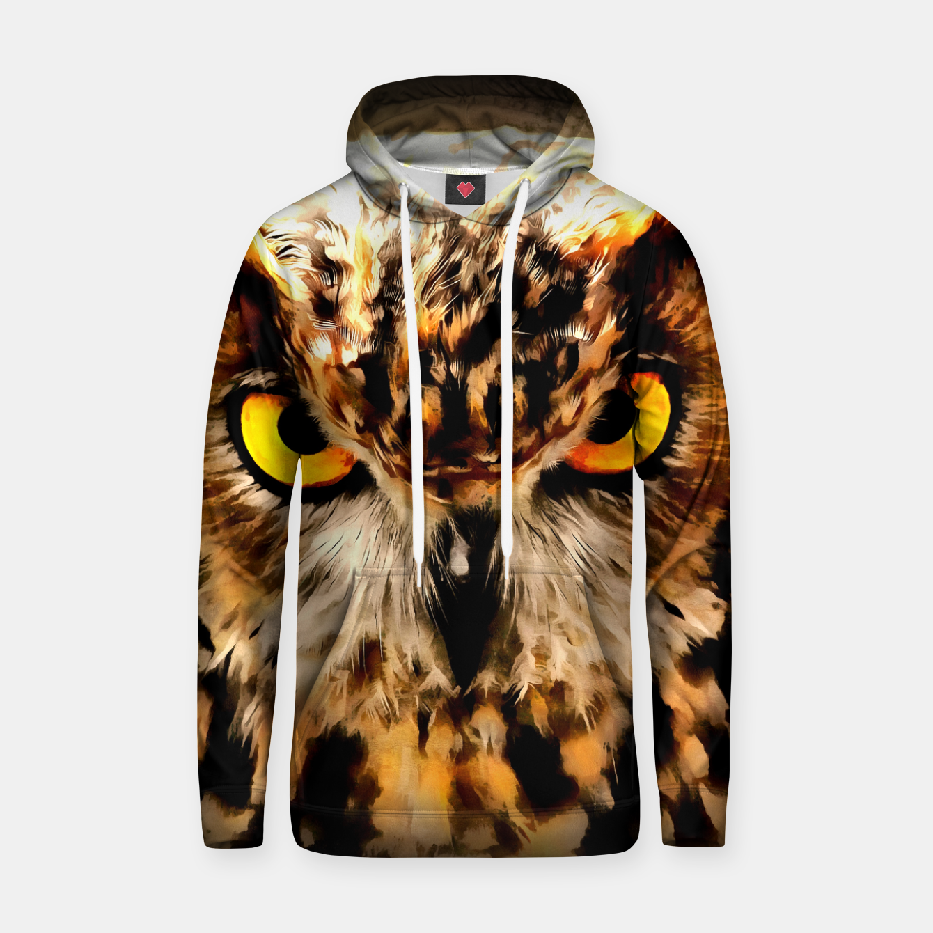 Image of owl look digital painting reacstd Hoodie - Live Heroes