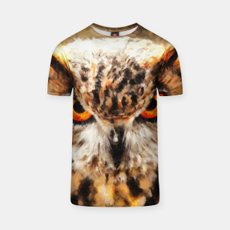 Thumbnail image of owl look digital painting orcstd T-shirt, Live Heroes