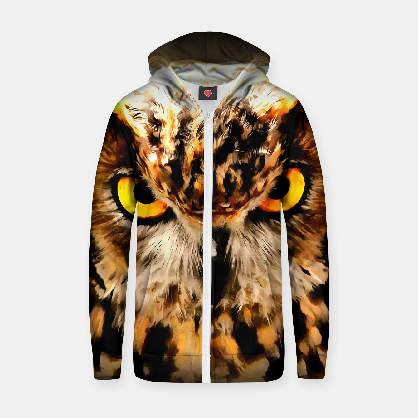 Image of owl look digital painting reacstd Zip up hoodie - Live Heroes