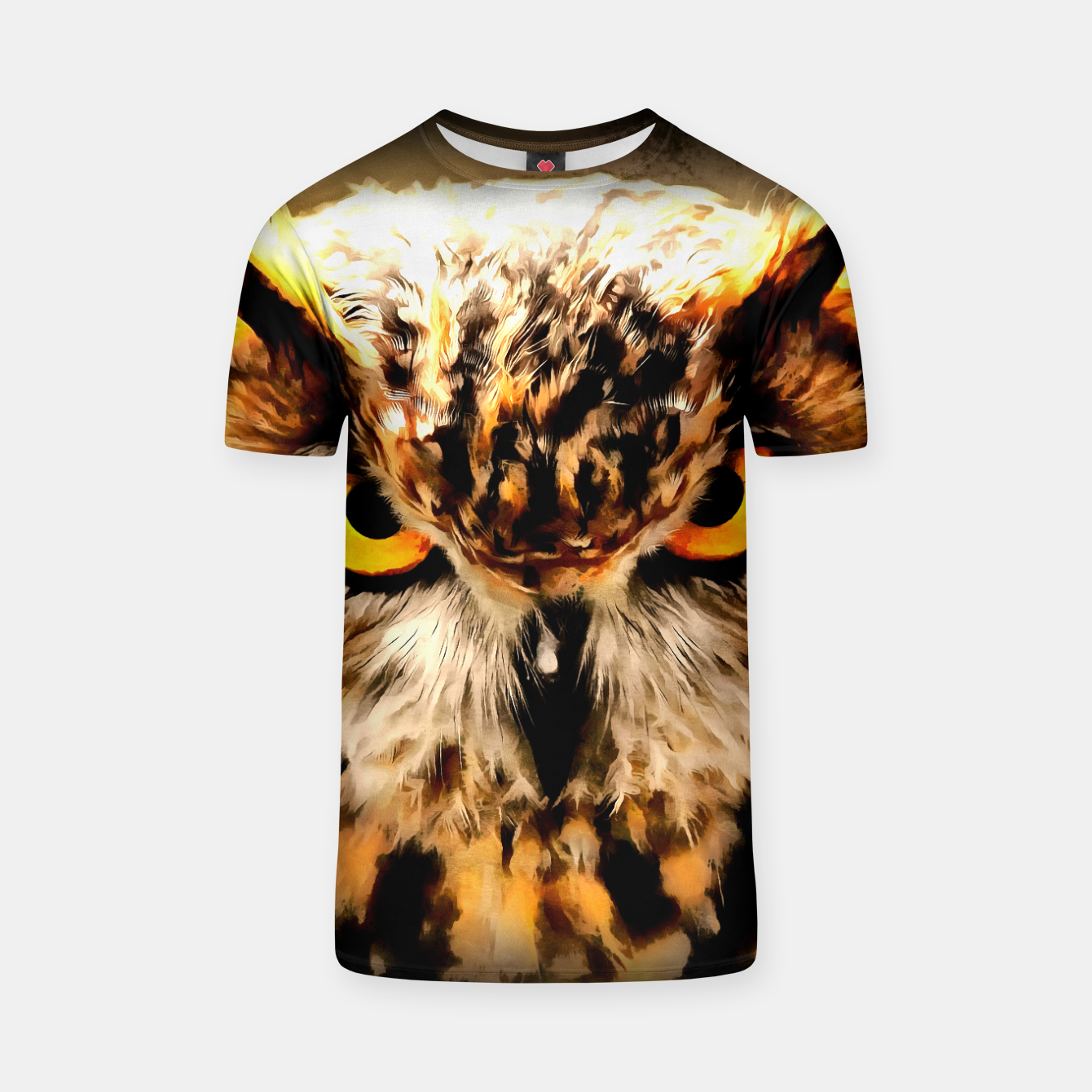 Image of owl look digital painting reacstd T-shirt - Live Heroes