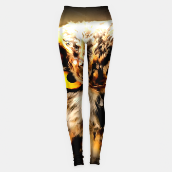 owl look digital painting reacstd Leggings miniature