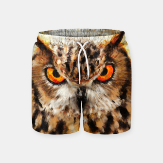 Miniatur owl look digital painting orcstd Swim Shorts, Live Heroes