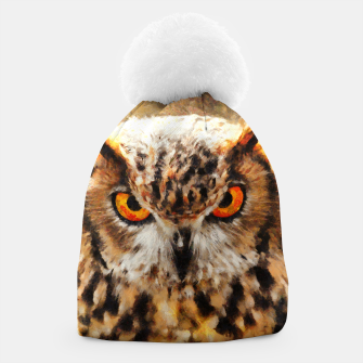 owl look digital painting orcstd Beanie miniature