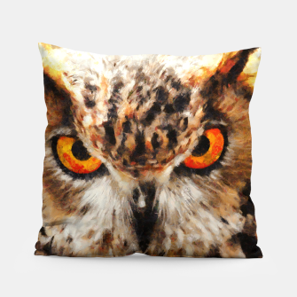 Thumbnail image of owl look digital painting orcstd Pillow, Live Heroes
