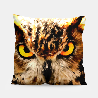 Miniatur owl look digital painting reacstd Pillow, Live Heroes