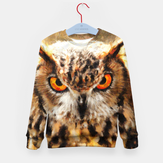 Thumbnail image of owl look digital painting orcstd Kid's sweater, Live Heroes