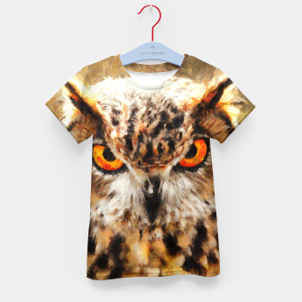 owl look digital painting orcstd Kid's t-shirt miniature