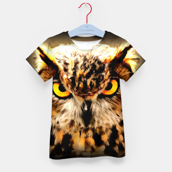 owl look digital painting reacstd Kid's t-shirt miniature