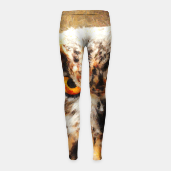 Thumbnail image of owl look digital painting orcstd Girl's leggings, Live Heroes