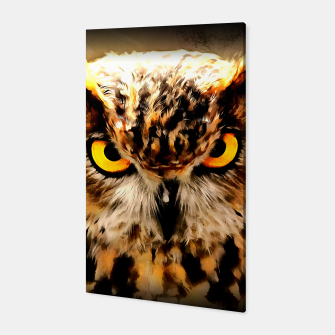owl look digital painting reacstd Canvas miniature