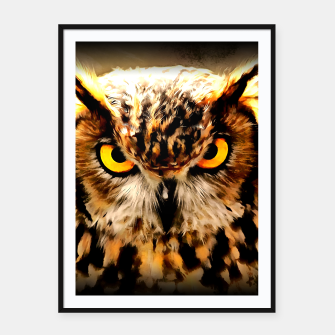 Miniatur owl look digital painting reacstd Framed poster, Live Heroes