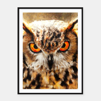 Thumbnail image of owl look digital painting orcstd Framed poster, Live Heroes