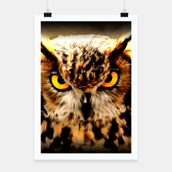 Miniatur owl look digital painting reacstd Poster, Live Heroes