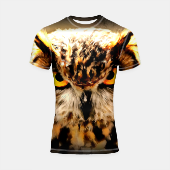 owl look digital painting reacstd Shortsleeve rashguard miniature