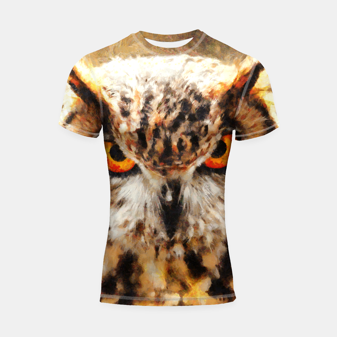 Image of owl look digital painting orcstd Shortsleeve rashguard - Live Heroes