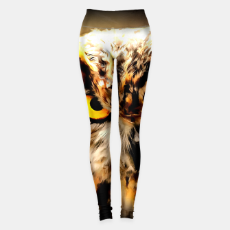 owl look digital painting reacstd Leggings thumbnail image