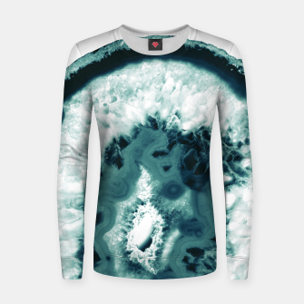 Teal Agate Glamor #1 #gem #decor #art  Frauen sweatshirt obraz miniatury