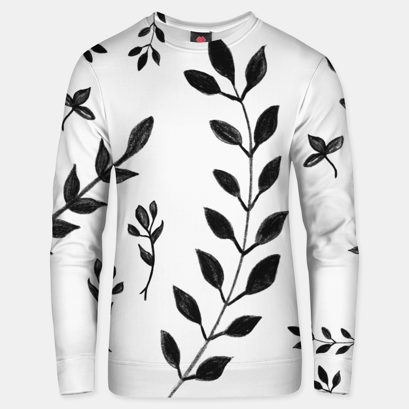 Image de Black & White Leaves Pattern #4 #drawing #decor #art Unisex sweatshirt - Live Heroes
