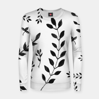Thumbnail image of Black & White Leaves Pattern #4 #drawing #decor #art Frauen sweatshirt, Live Heroes