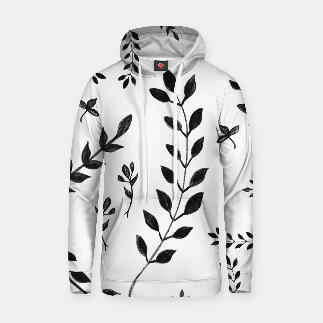 Image of Black & White Leaves Pattern #4 #drawing #decor #art Kapuzenpullover - Live Heroes