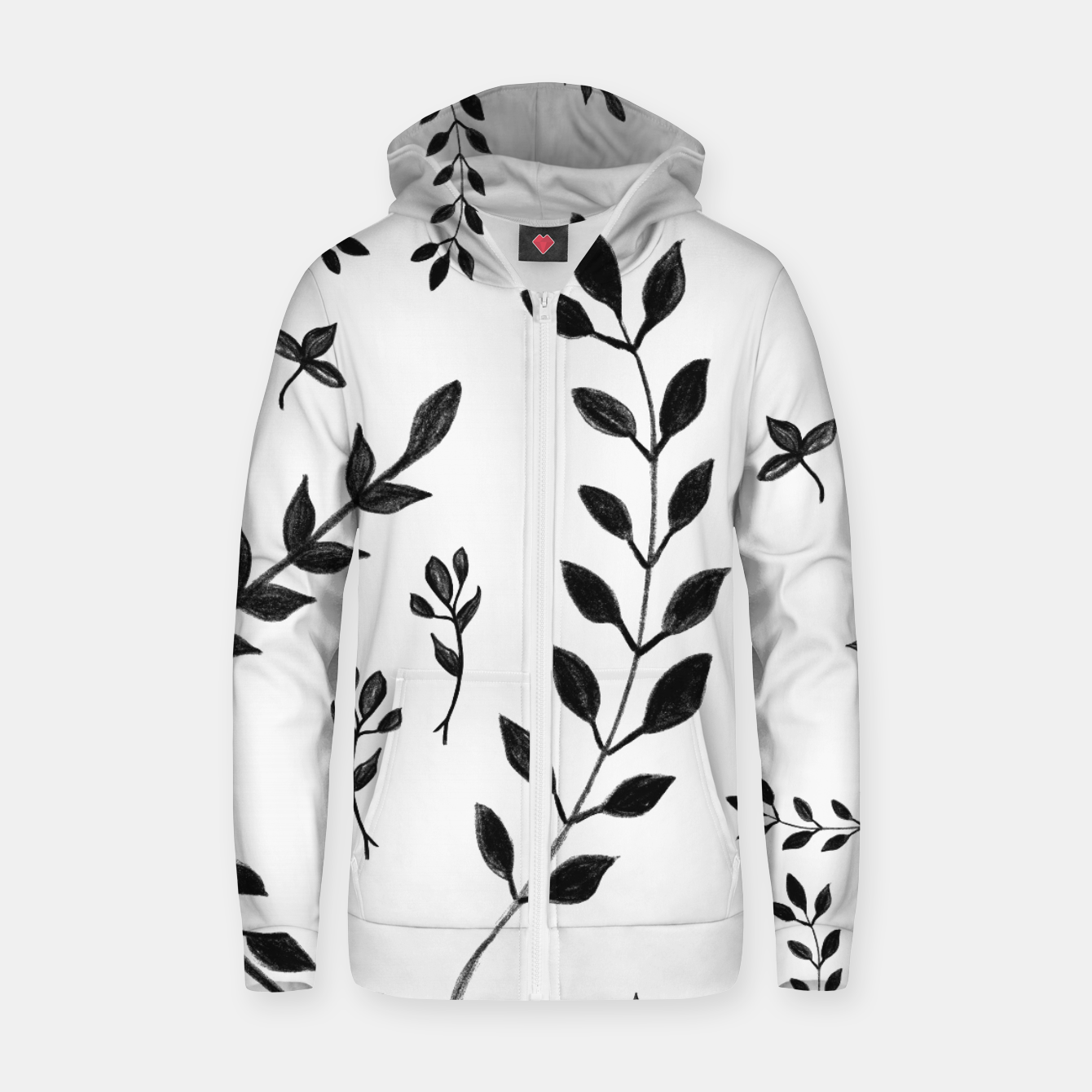 Image de Black & White Leaves Pattern #4 #drawing #decor #art Reißverschluss kapuzenpullover - Live Heroes