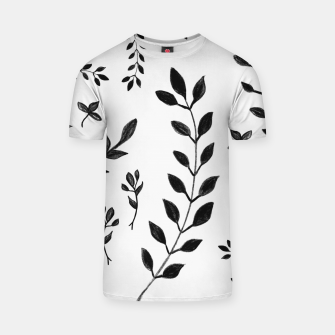 Black & White Leaves Pattern #4 #drawing #decor #art T-Shirt obraz miniatury