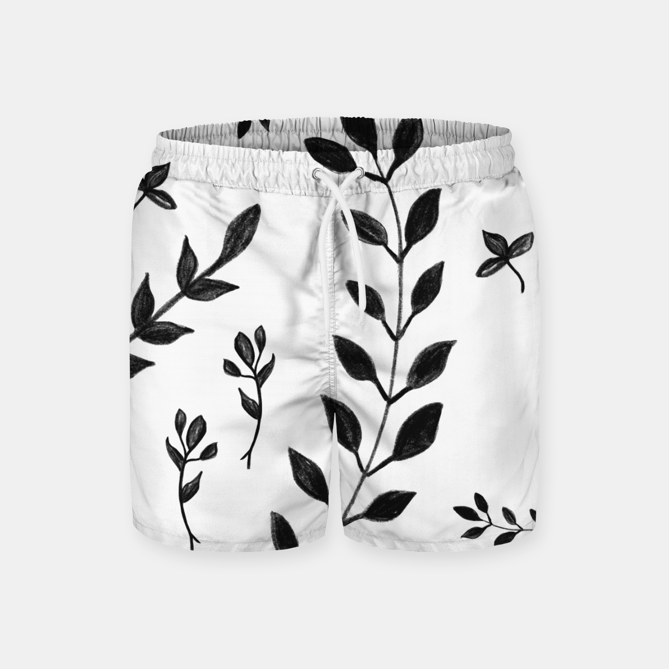 Zdjęcie Black & White Leaves Pattern #4 #drawing #decor #art Badeshorts - Live Heroes