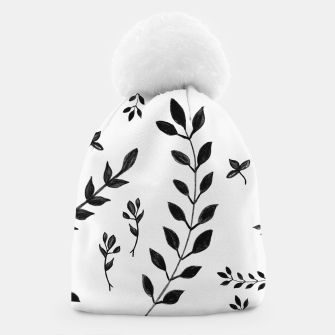 Miniatur Black & White Leaves Pattern #4 #drawing #decor #art Mütze, Live Heroes