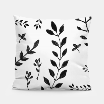 Miniatur Black & White Leaves Pattern #4 #drawing #decor #art Kissen, Live Heroes