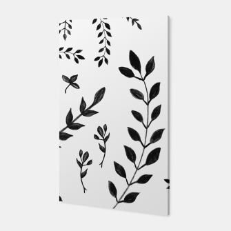 Black & White Leaves Pattern #4 #drawing #decor #art Canvas thumbnail image