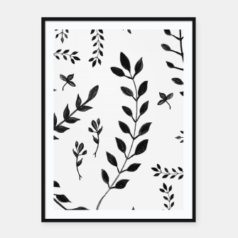 Black & White Leaves Pattern #4 #drawing #decor #art Plakat mit rahmen thumbnail image