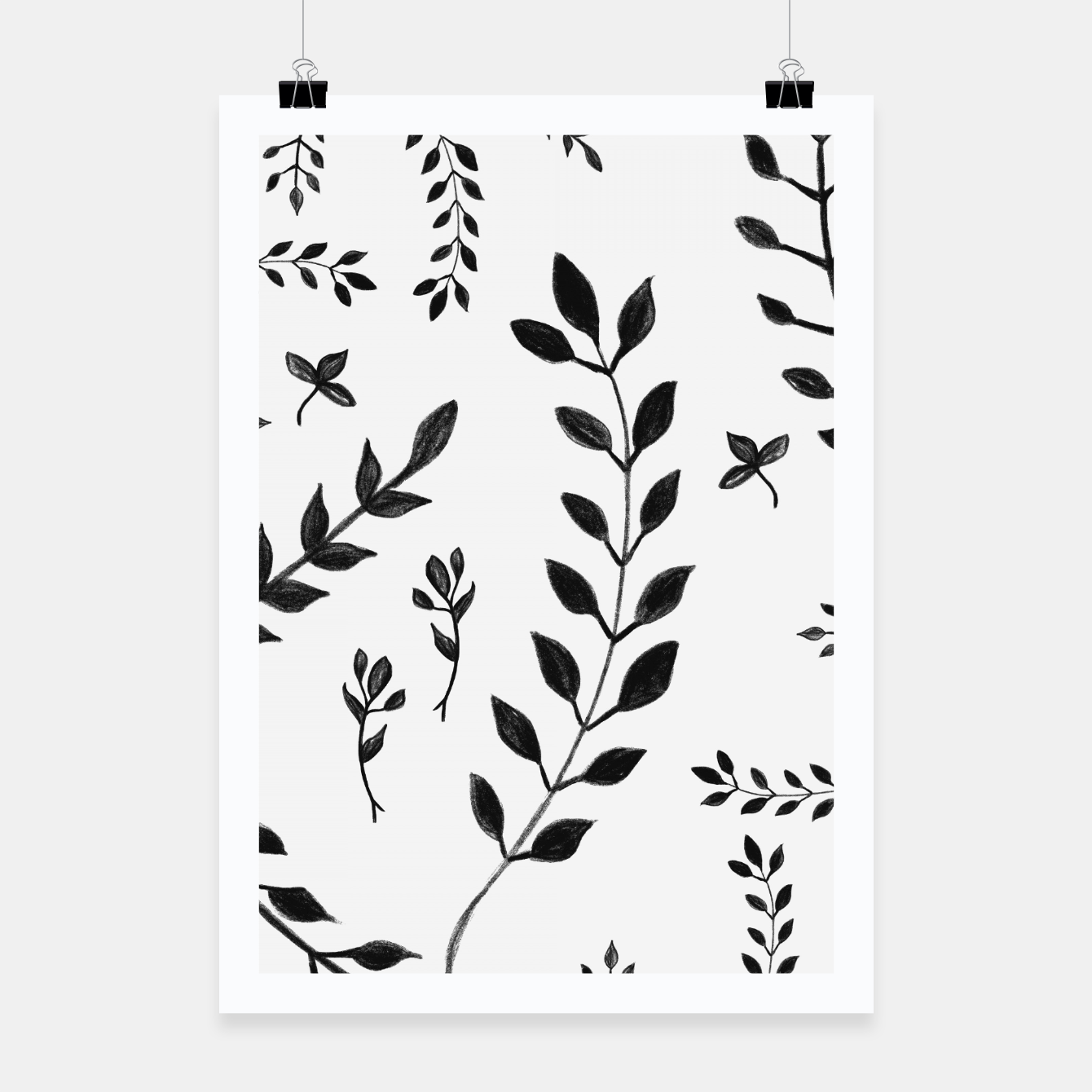 Zdjęcie Black & White Leaves Pattern #4 #drawing #decor #art Plakat - Live Heroes