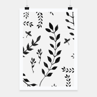 Black & White Leaves Pattern #4 #drawing #decor #art Plakat miniature