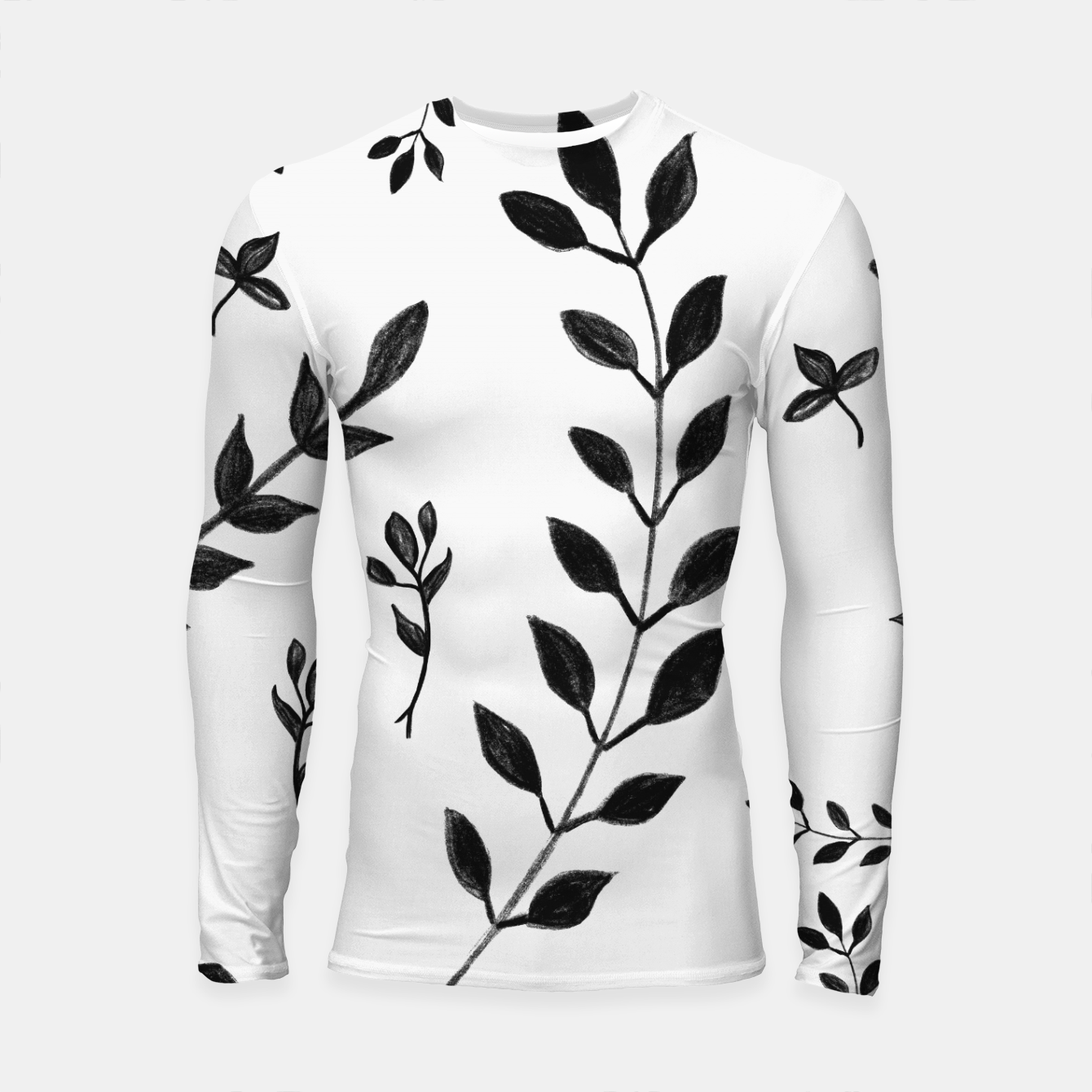 Image of Black & White Leaves Pattern #4 #drawing #decor #art Longsleeve rashguard - Live Heroes