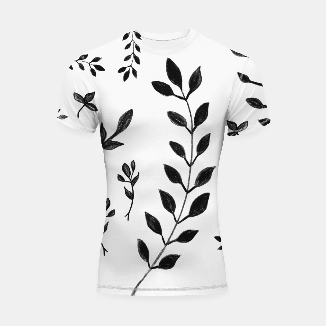 Zdjęcie Black & White Leaves Pattern #4 #drawing #decor #art Shortsleeve rashguard - Live Heroes