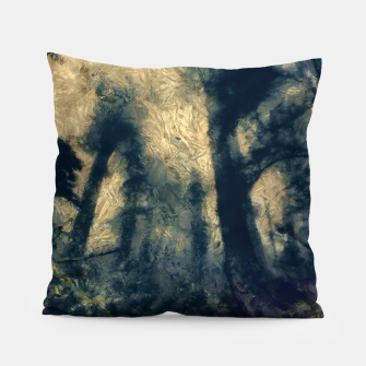 Thumbnail image of abstract misty forest painting hvhdfn Pillow, Live Heroes