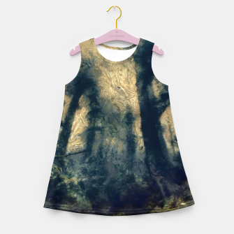 Thumbnail image of abstract misty forest painting hvhdfn Girl's summer dress, Live Heroes