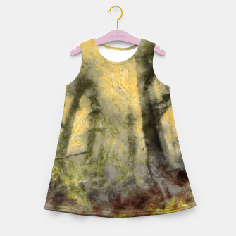 Thumbnail image of abstract misty forest painting hvhdsepia Girl's summer dress, Live Heroes