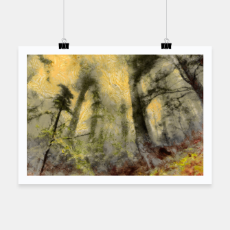 Thumbnail image of abstract misty forest painting hvhdsepia Poster, Live Heroes