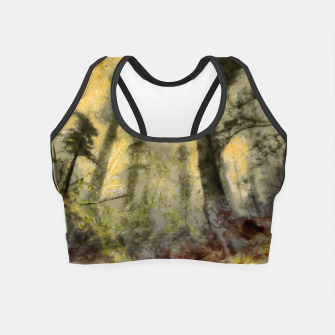Thumbnail image of abstract misty forest painting hvhdsepia Crop Top, Live Heroes