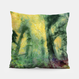 Thumbnail image of abstract misty forest painting hvhdstd Pillow, Live Heroes