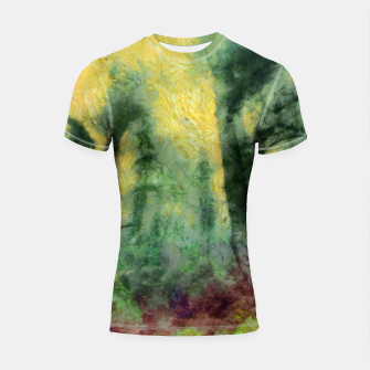 Thumbnail image of abstract misty forest painting hvhdstd Shortsleeve rashguard, Live Heroes