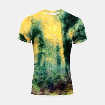 Thumbnail image of abstract misty forest painting hvhdtop Shortsleeve rashguard, Live Heroes