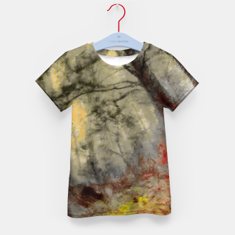 abstract misty forest painting hvhd hfsepia Kid's t-shirt thumbnail image