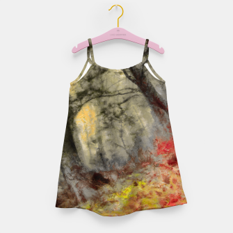 abstract misty forest painting hvhd hfsepia Girl's dress thumbnail image
