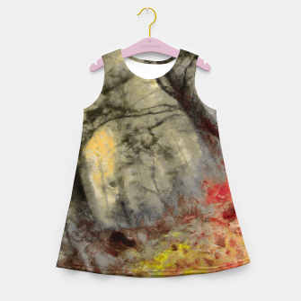 abstract misty forest painting hvhd hfsepia Girl's summer dress thumbnail image